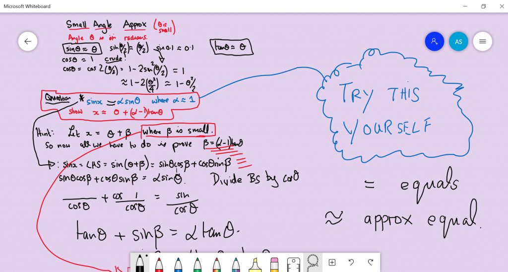 A Level Maths Whiteboard Example of a Small Angle Approximation Question