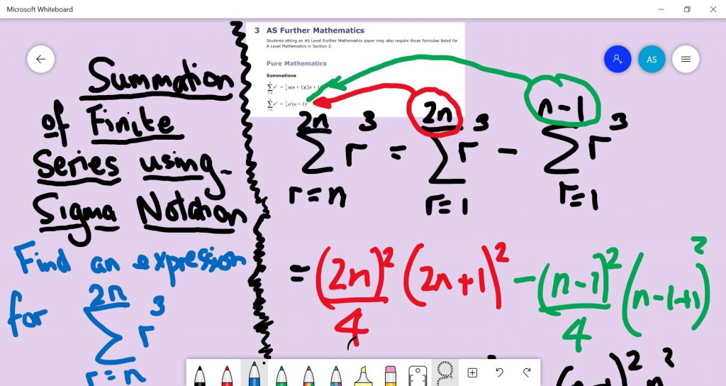 ALevel Further Maths Whiteboard example showing how to appy the sigma notation formulae to a given question